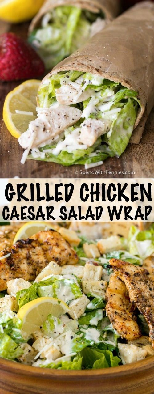 Grilled Chicken Caesar Salad Wrap is the perfect summer picnic or on the go meal!  Juicy chicken, crisp fresh lettuce with a creamy garlic parmesan dressing all topped off with a grilled garlic parmesan flatbread. #ad