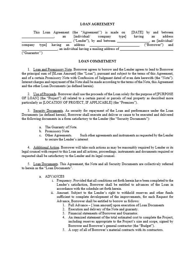 Loan Agreement Template Contract Template Rental Agreement Templates Mortgage Agreement