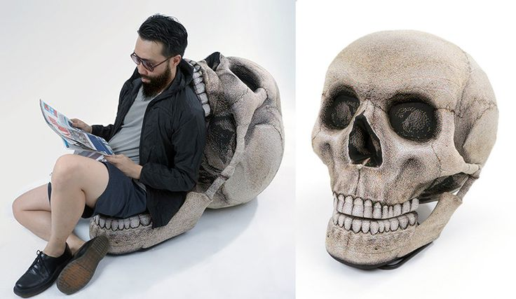 Combines the comfortable functionality of a chair with the uncomfortable terror of a massive human skull.