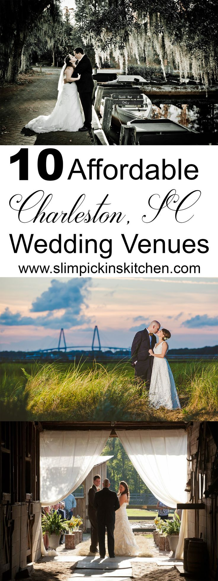 Affordable Charleston Wedding Venues for Brides on a Budget.Charleston, SC-A comprehensive list of affordable, inexpensive Charleston wedding venues and Charleston wedding inspiration where you can have your wedding and your cake...and eat it too. Photos in the Pin by Valerie & Co. Photographers and Scott Henderson Photography.