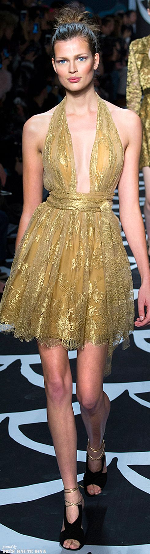 The world of Miss Millionairess: NYFW Diane von Furstenberg Fall 2014 | gold cocktail dress