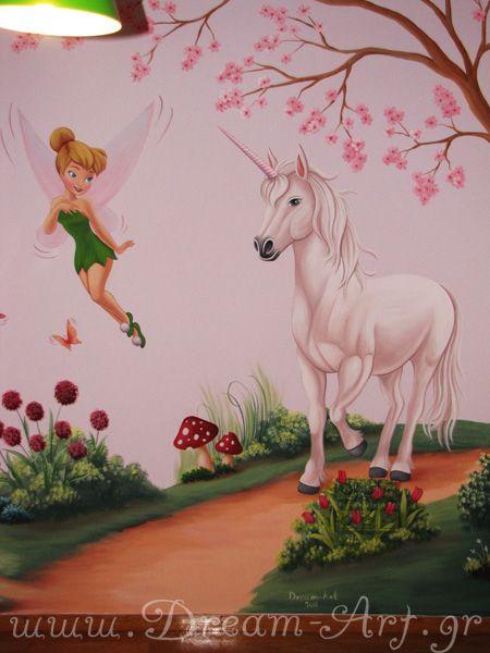 Ζωγραφική στον τοίχο κοριτσίστικου παιδικού δωματίου