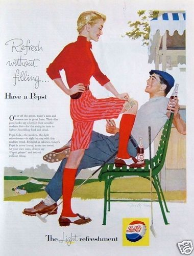 1957 Original Advertising Pepsi Light Refreshment Golf Course Couple Players