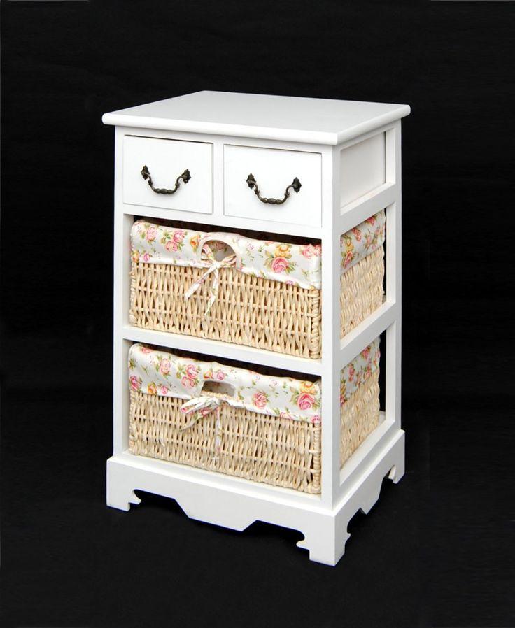 Commode du look campagnard Sideboard Commode pour salle de bain en blanc avec 2 tiroirs et 2 paniers: Amazon.fr: Cuisine & Maison