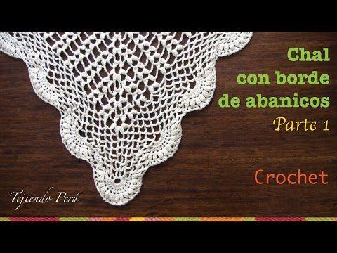 Chal triangular o punta calada con borde de abanicos tejida a crochet (Parte 1) - YouTube