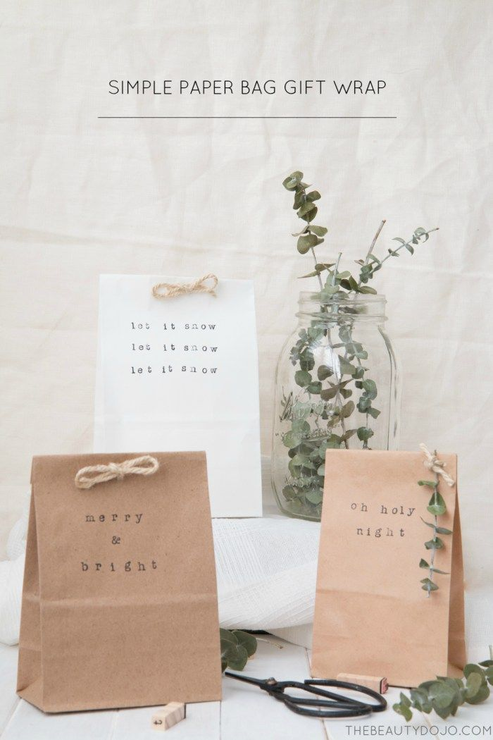 These simple stamped paper bags are a quick way to wrap your gifts