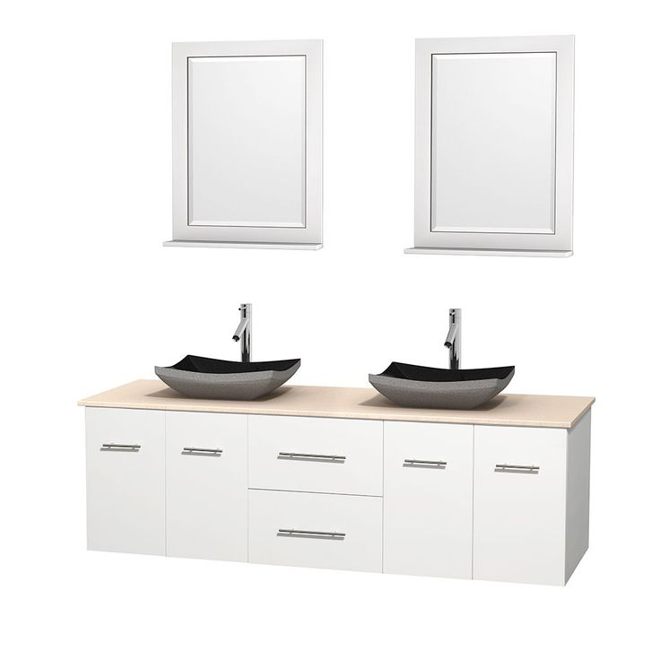 "Wyndham Collection Centra White 72-inch Double Ivory Marble Bathroom Vanity with Mirrors (72"" White,IvMarble Top,A #Collectibles"