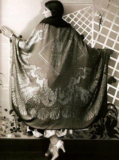 """maudelynn:  Paul Poiret, """"Amphitrite"""" Cape, the textile designed by Raoul Dufy, 1926. viahttp://emblah13.wordpress.com"""