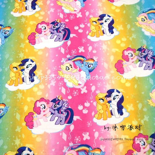 105X100cm Rainbow Background My Little Pony Cotton Fabric for Baby Girl Clothes Bedding Set Sewing Patchwork DIY-AFCK099 #Affiliate