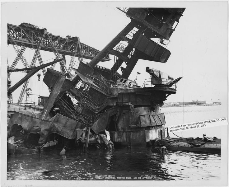 The USS Arizona - Amazing pictures of the Life and Death of an ill fated Battleship - Page 3 of 3 - WAR HISTORY ONLINE - After the Pearl Harbor attack (superestructure).