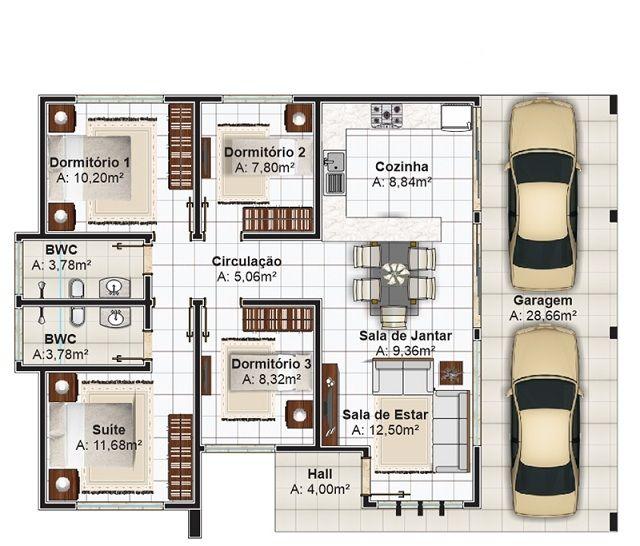 14 best PLANOS DE CASAS images on Pinterest Small houses, House - plan maison plain pied 80m2