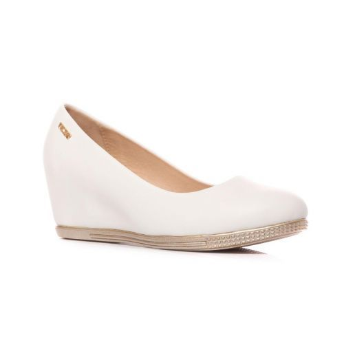 LADIES & WOMEN WHITE WEDGE HIGH HEEL PUMPS BALLERINA  SHOES SIZE 3-7.5 UK