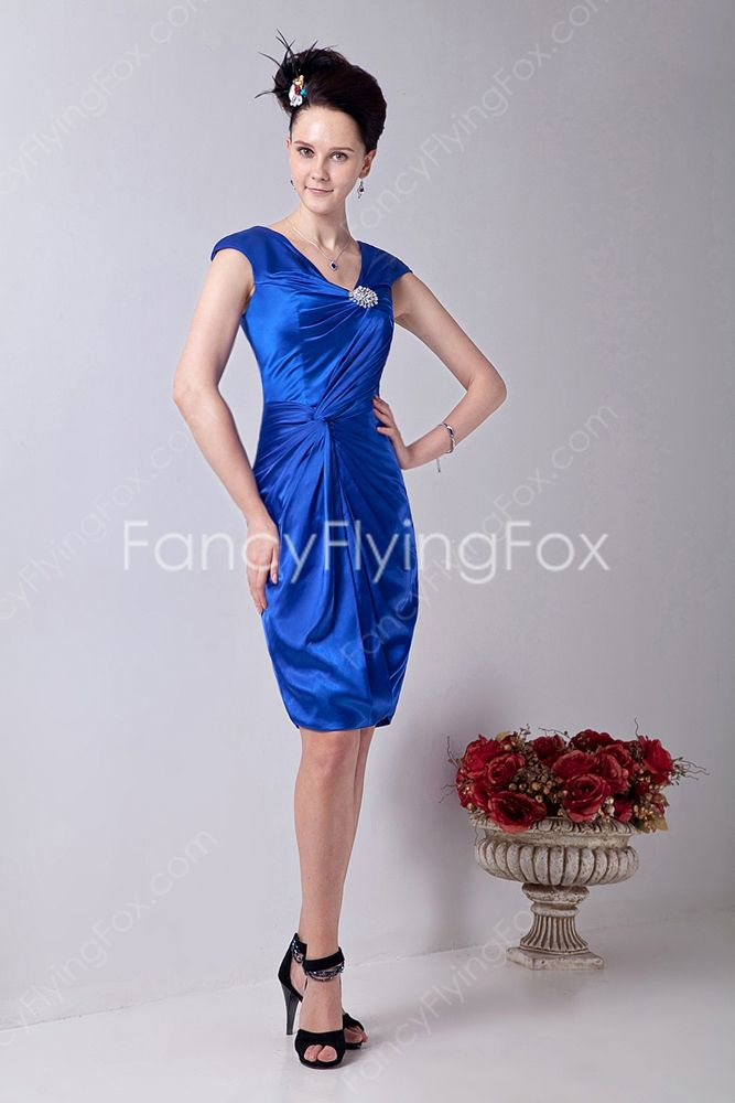 Glamour V Neckline A Line Knee Length Royal Blue Wedding Guest Dresses