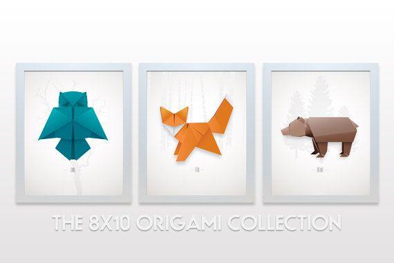 Origami Animal Collection - 8x10 print set minimal modern decor wall art paper folding japanese owl fox bear minimalist teal orange brown