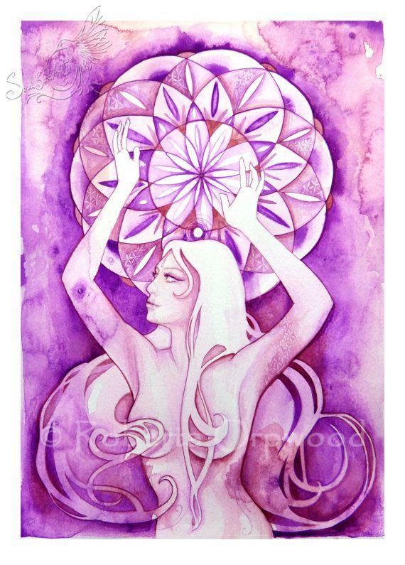 Diosa del Chakra de la corona / «Sahasrara» diosa / arte de la pared ~ Art Print de obras de arte originales por Roberta Orpwood
