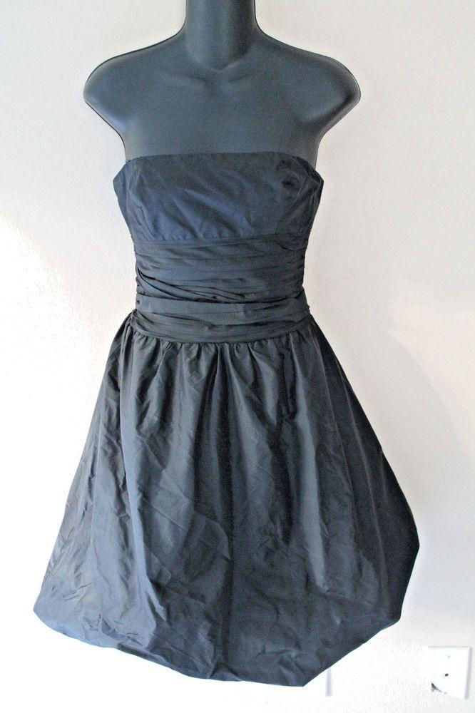 BCBG Maxazria Strapless Evening Silk Black Dress Pleat Bodice Flare Hem #bcbgmaxazria #Bubble #Formal