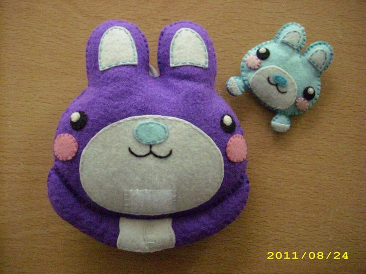 conejitos mamá y bebe de fieltro mom and baby bunnies made of felt
