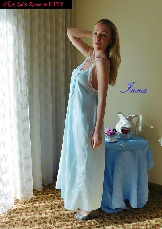 Vintage 70 s Baby BLUE SATIN and Lace Long NIGHTGOWN Eve Stillman  Collections Negligee Princess Sleepwear Wide Sweep Lingerie-S 89831e91a