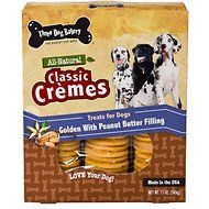 Three Dog Bakery Classic Cremes-Golden Cookies with Natural Peanut Butter Flavor Filling Dog Treats, 13-oz box