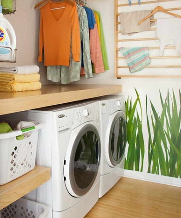 Small laundry room makeover ideas 20 small laundry room for Small laundry design