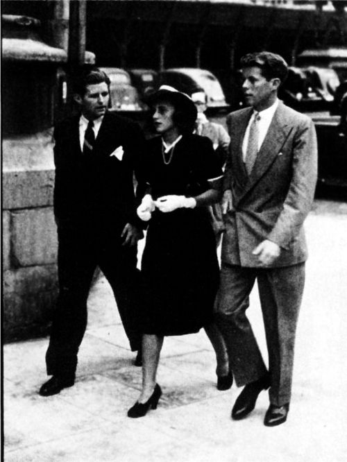 Joseph Patrick Jr., Kathleen, and John F. Kennedy walk around London in the early 1940's courtesy of their father, Joseph P. Kennedy Sr., who was the Ambassador to Great Britain at the time.