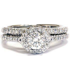 #8: Real .75CT Pave Halo Diamond Engagement Vintage Ring Set Round Brilliant Cut.