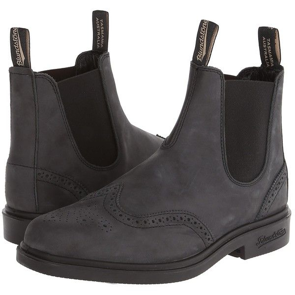 Blundstone 1304 Work Boots, Black ($111) ❤ liked on Polyvore featuring shoes, boots, black, slip on boots, slip on work boots, pointed-toe boots, steel work boots and pull on boots