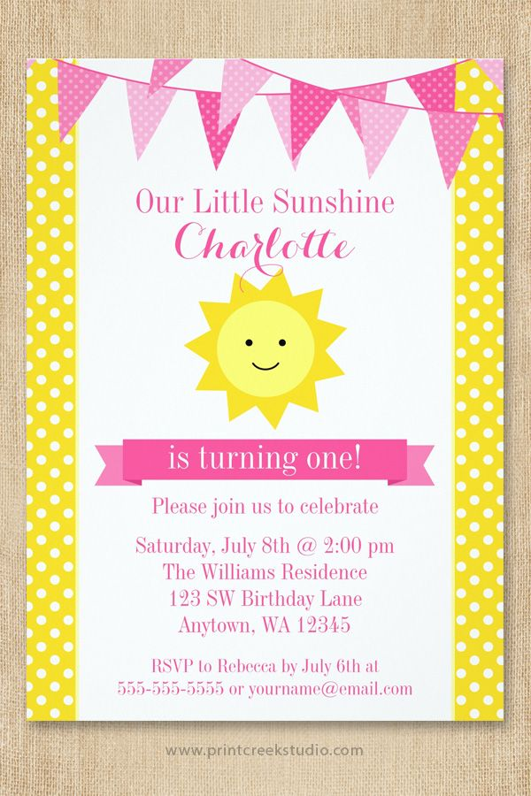 57 best Sunshine Birthday Party Theme images on Pinterest You are - fresh invitation card for first birthday of baby girl