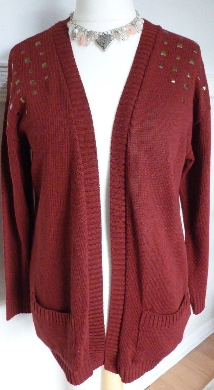 Primark Cotton Acrylic Red Wine Studded Cardigan Cardi UK 12***LAST ONE*** FOR SALE • £9.99 • See Photos! Money Back Guarantee. Edge to Edge CardifromPrimarkSize 12Decorated with studs across the shoulders2 pockets at the frontMeasures 30 inches from neck to hem 201671692613