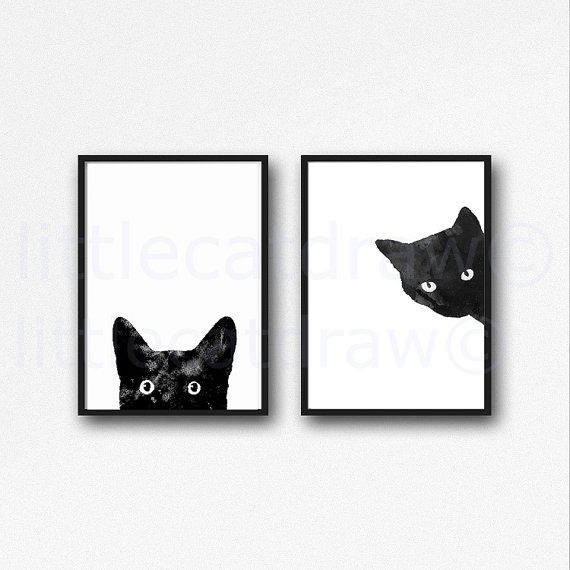 Zwarte kat Print Set aquarel Prints Cat Art afbeelding kat minnaar cadeau zwart-witte kunst van de minimalistische Decor van het huis 2 afgedrukt ingelijste