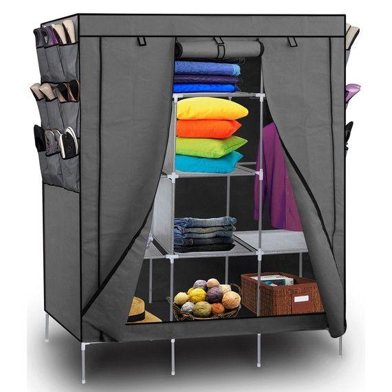 Portable Wardrobe w/ Customizable Shelves, Shoe Storage & Removable Cover