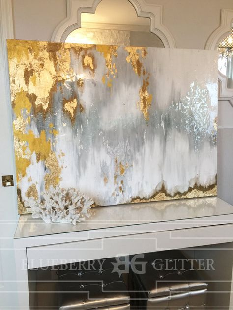 "Vendido!! Acrílicos abstractos arte gran lienzo pintura gris, plata, oro Ikat Ombre brillo con cristal y resina capa 36 ""x 48"" pan de oro real"