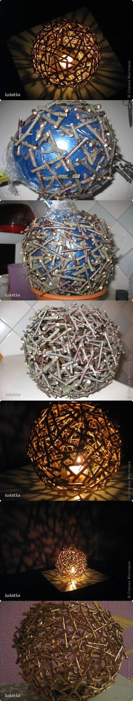 Use craft glue to glue twigs around a balloon. When dry, pop the balloon and set a small candle in the bottom. It's pretty even without the candle. via