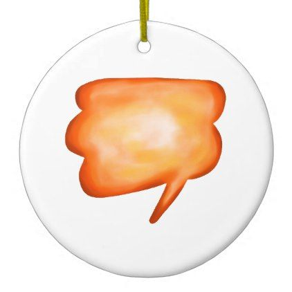 Orange Watercolour Cartoon Speech Balloon Ceramic Ornament - home gifts ideas decor special unique custom individual customized individualized