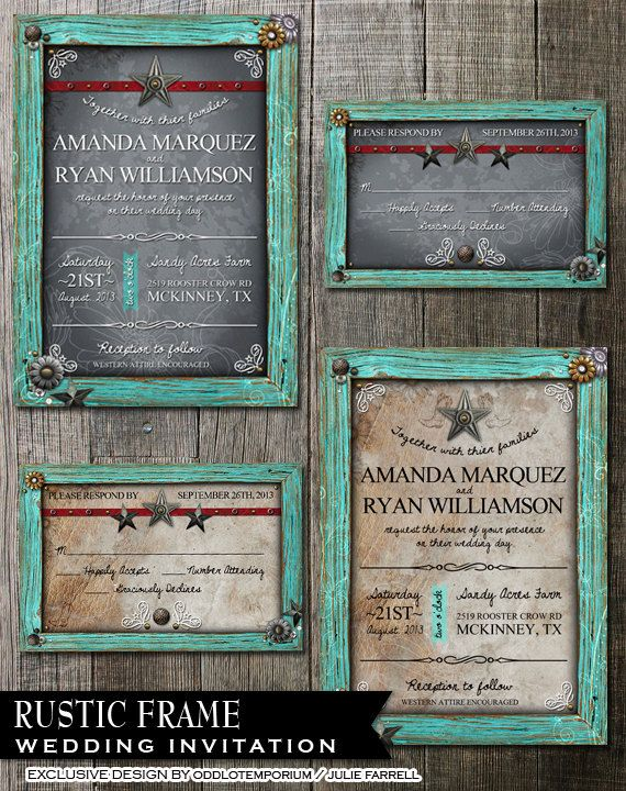 Rustic Frame Wedding Invitation - Digital Printables.2 background Choices - Rustic Turquoise Frame with metal flower embellishments. on Etsy, $35.00