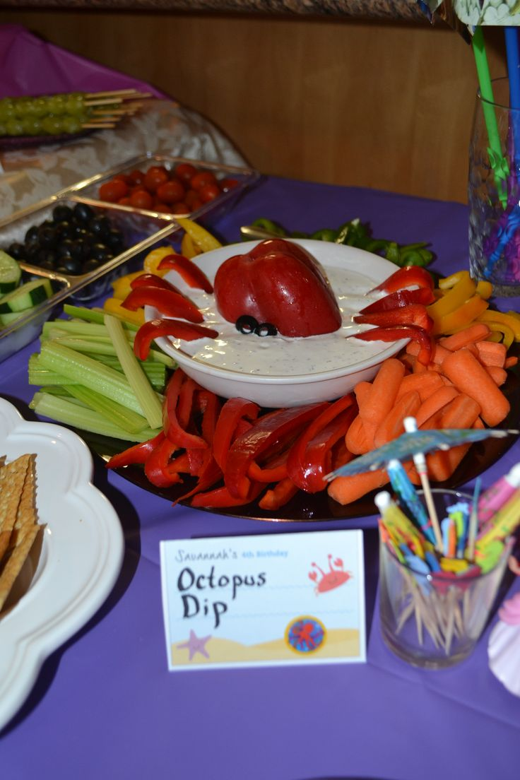 Little Mermaid party food- octopus dip with veggies