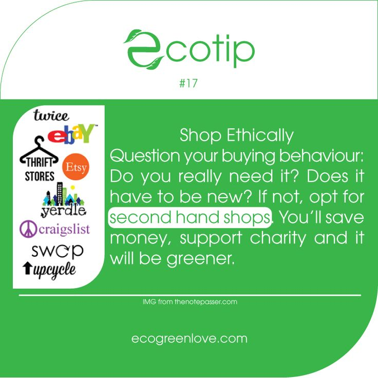 #Ecotip 17 - Shop #ethically - - #secondhand #consumerism #greenliving #gogreen #sustainability #savemoney #ecofriendly #eco