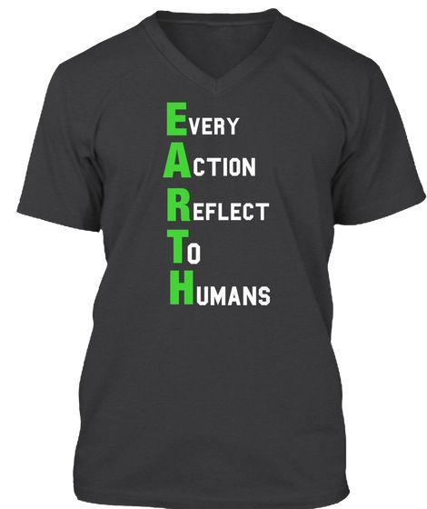 E Very A Ction R Eflect T O H Umans Dark Grey Heather T-Shirt Front