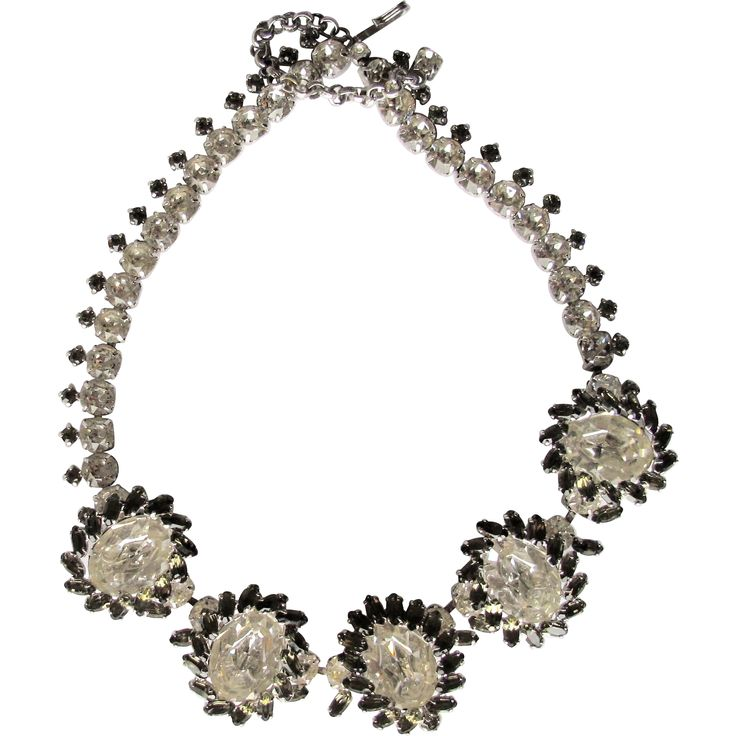 Sherman Large Oval Clear Grey Swarovski Necklace Spectacular Exclusively at Lee Caplan Vintage Collection  on RubyLane
