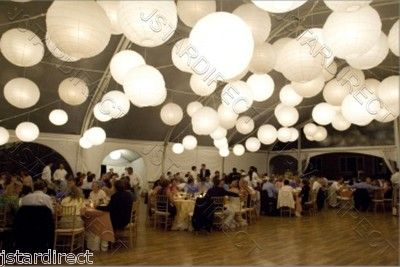 """10 14"""" Round White Paper Lanterns with LED Lights... easier than stringing lights around trees.  Just $31/10"""