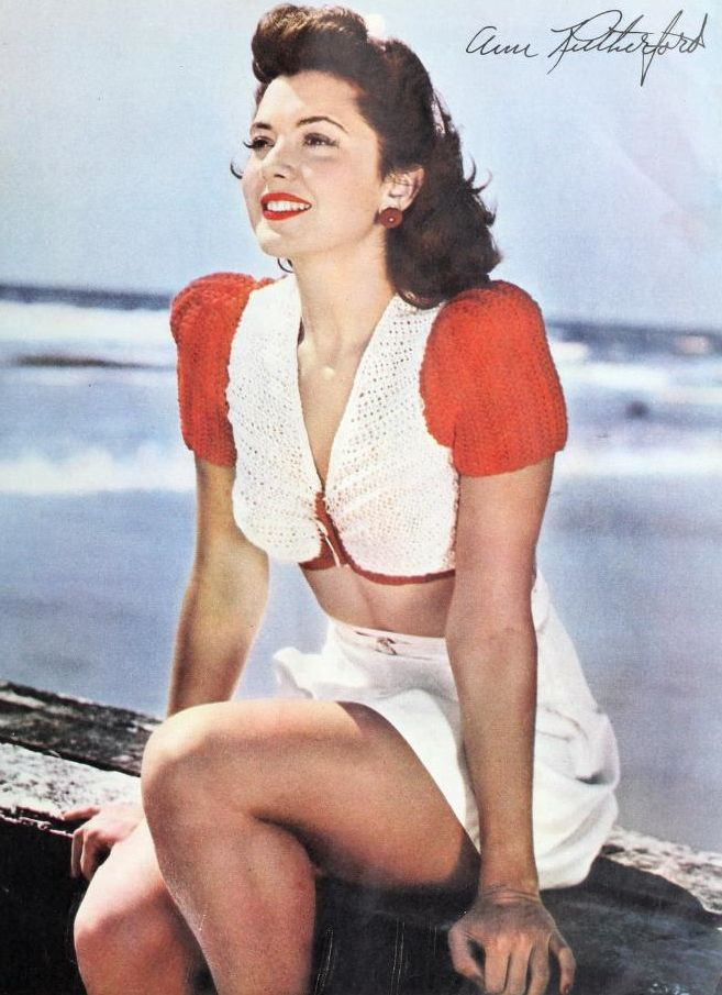 Ann Rutherford vintage fashion style 40s color photo print ...