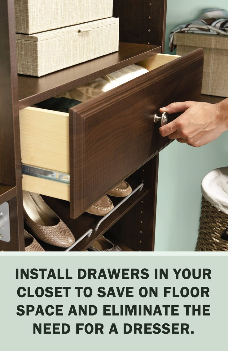 #StorageTips via @ms_living: Install drawers in your closet to save on floor space and eliminate the need for a dresser. #Storage #Organization