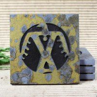Eagle Pictograph Southwestern Medallion Copper Slate Coaster Set