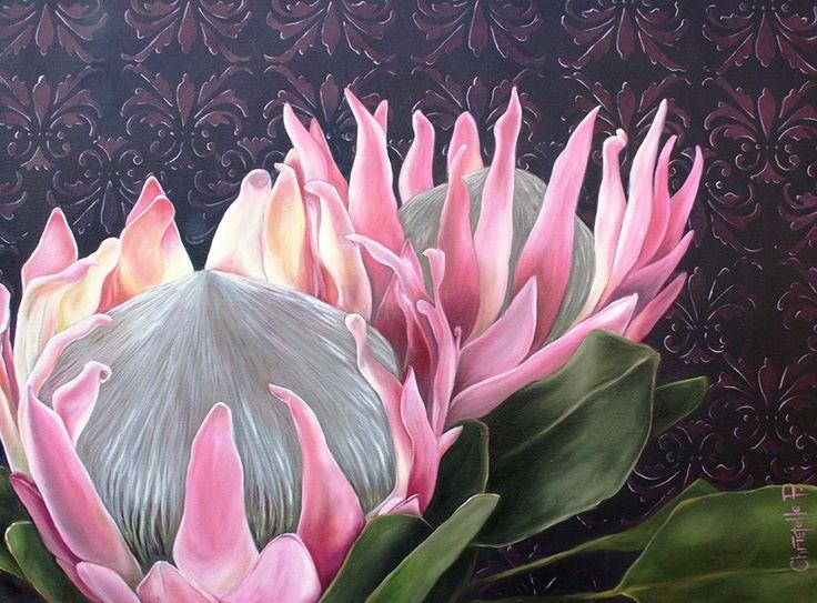 Pink king proteas against a purple damask background...  www.christellepretoriusart.co.za