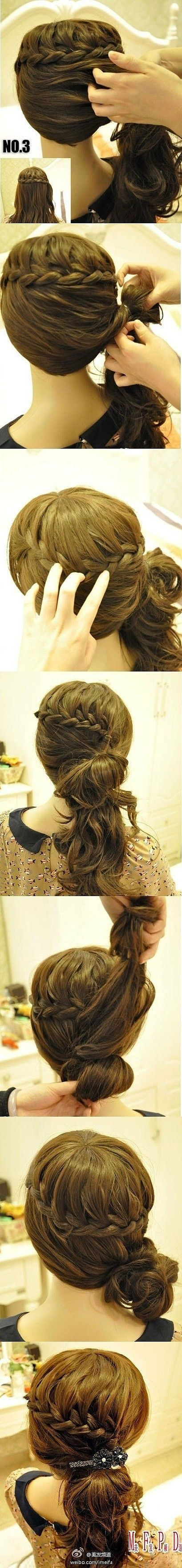 Cute braided side-pony look! Minus the black bedazzling.