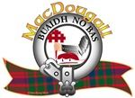 """MacDougall Clan Tartan Crest On a chapeau Gules furred Ermine, a dexter arm in armour embowed fessways couped Proper, holding a cross crosslet fitchée erect Gules. Clan Motto """"Buaidh no bàs"""", Victory or Death. MacRory Mor"""