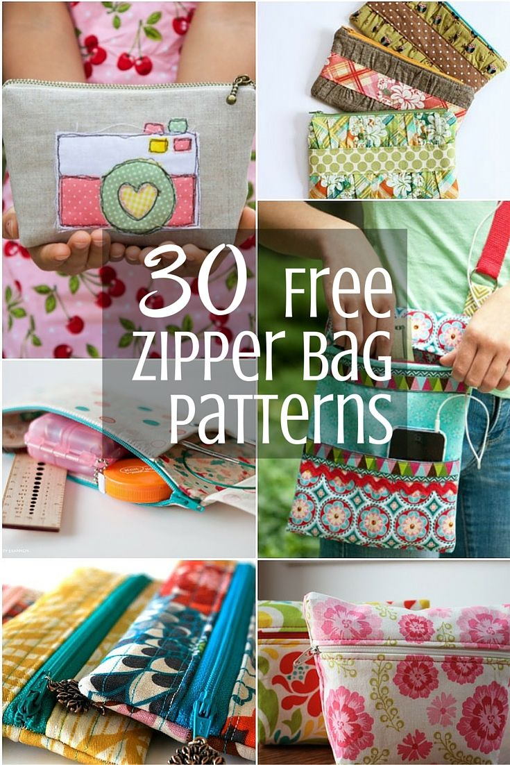 Mega list of free zipper bag patterns to keep you inspired for the Scrappy Girls Club SWAP.