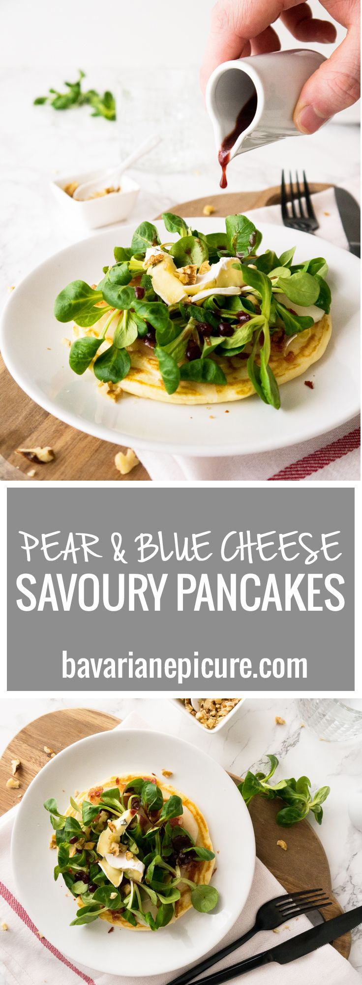 You have to try these savoury Pear and Blue Cheese Pancakes! Perfect for brunch, as a main dish or as a course in a full course dinner.