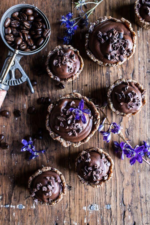 Mini Vegan No-Bake Chocolate Mocha Fudge and Coconut Tarts.