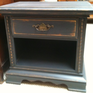 Refinished solid wood nightstand. $59.99. Visit us at fitzsfurniture@gmail.com on Facebook.